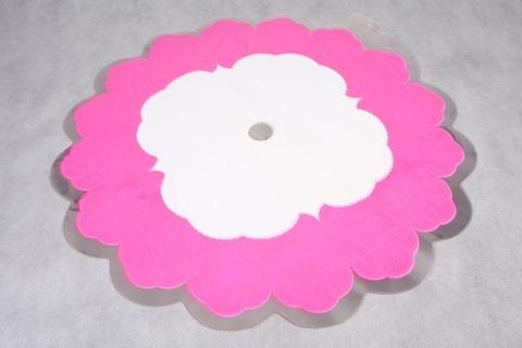Салфетка ажурная круг d60 см цвет: розовая