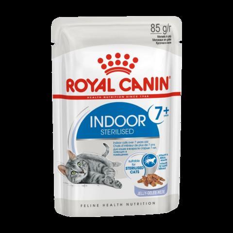 Royal Canin Indoor Sterilised 7+ years Консервы для стареющих кошек постоянно живущих в помещении, кусочки в желе (Пауч)