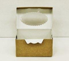 Коробка для 2 капкейков 17*10*10 с окном, крафт/белая