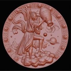 Силиконовый молд № медальон  Водолей