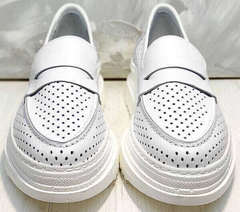 Кожаные кроссовки женские - пенни лоферы Derem 372-17 All White.