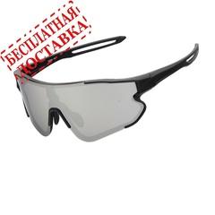 Очки солнцезащитные XQ548, (чёрный матовый / дымчатые) +2 доп. линзы