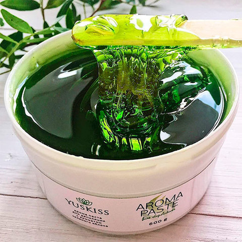 Цветная арома-паста для шугаринга «Зелёное яблоко» TM YUSKISS 600 g SOFT