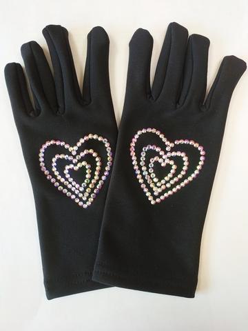 Перчатки из термоткани (сердечки из страз)