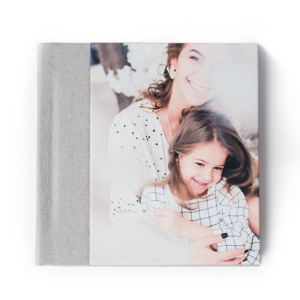 20x20 фотокнига с фото-обложкой+ текстильный торец