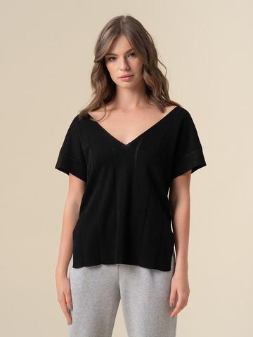 Женская футболка черного цвета из вискозы - фото 2