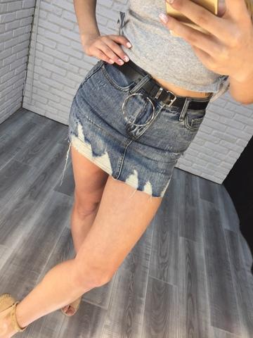 джинсовая юбка с ремнем недорого