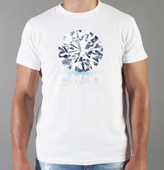 Футболка с принтом Бриллиант (с бриллиантами, с камнями, diamonds) белая 005