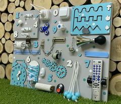 Бизиборд стандарт 50х65 см с ТВ-пультом Бирюзовый для мальчика