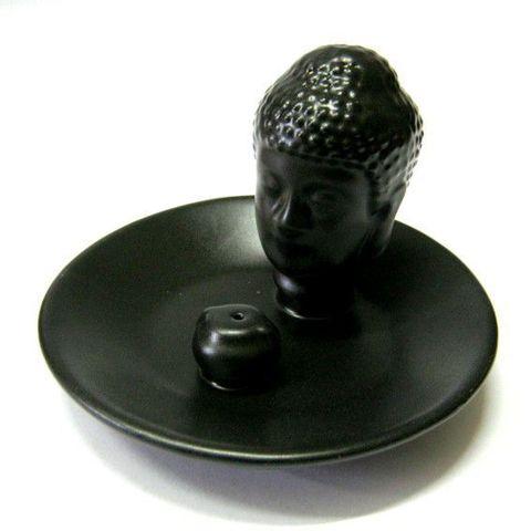 Подставка под благовония Будда Черный, керамика 11 см