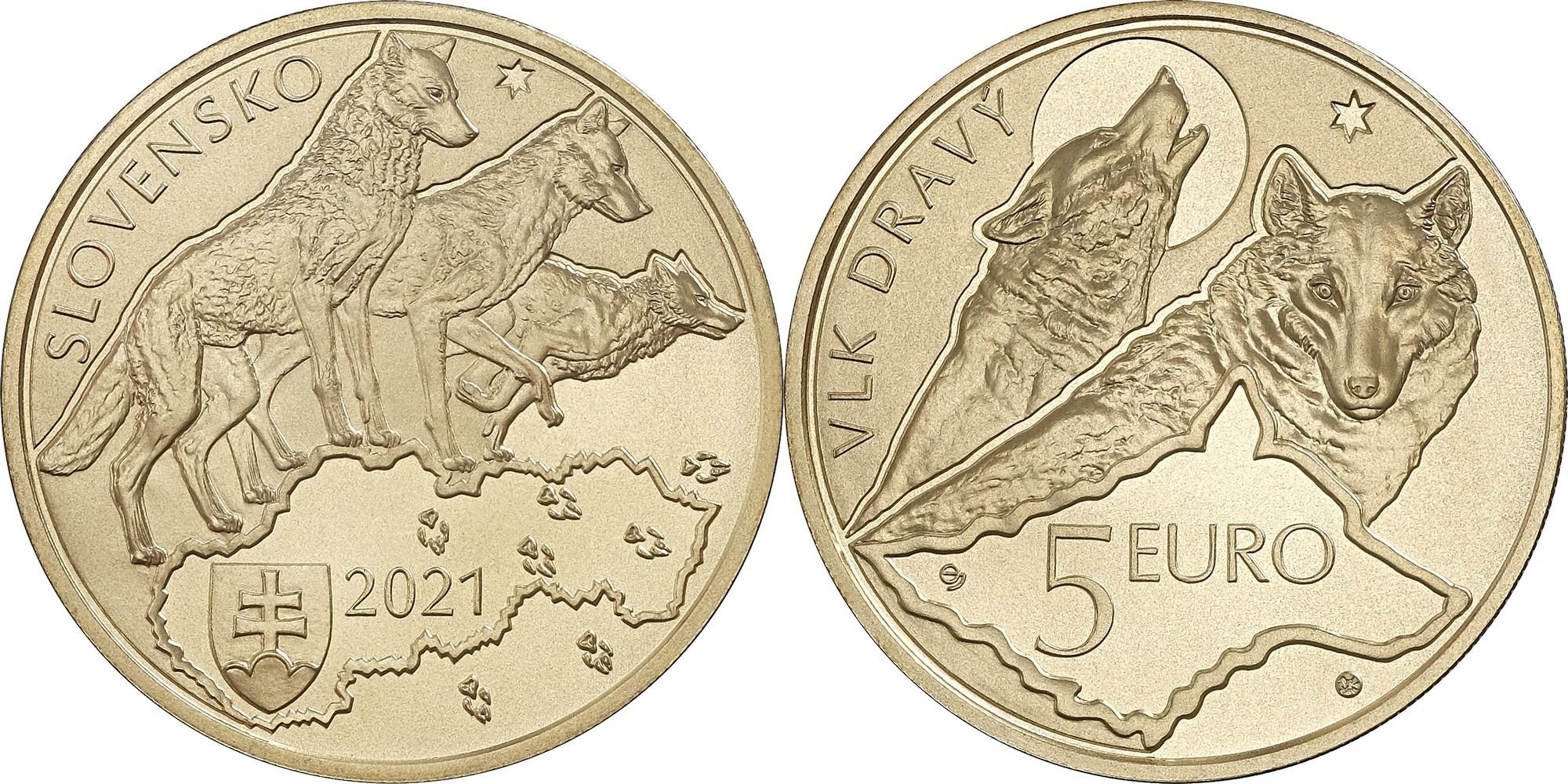 5 евро Волк Словакия 2021 год