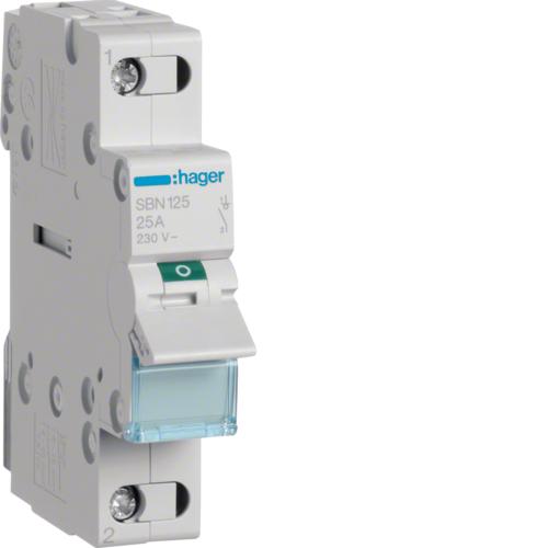 Выключатель-разъединитель (рубильник), 1P, Ie=25A 400В 50/60Гц, AC22A, Ui=500В, ширина 1M; арт. SBN125