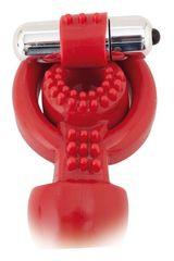 Красная вибронасадка Black Red с анальным стимулятором - 24 см.