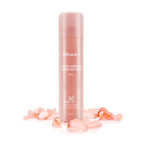 Солнцезащитный мист-спрей JMsolution Glow Luminous Flower Sun Spray Rose SPF50+ PA+++