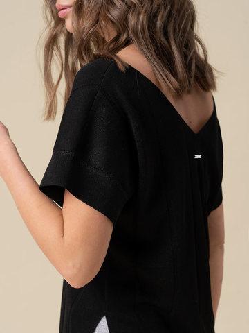 Женская футболка черного цвета из вискозы - фото 3