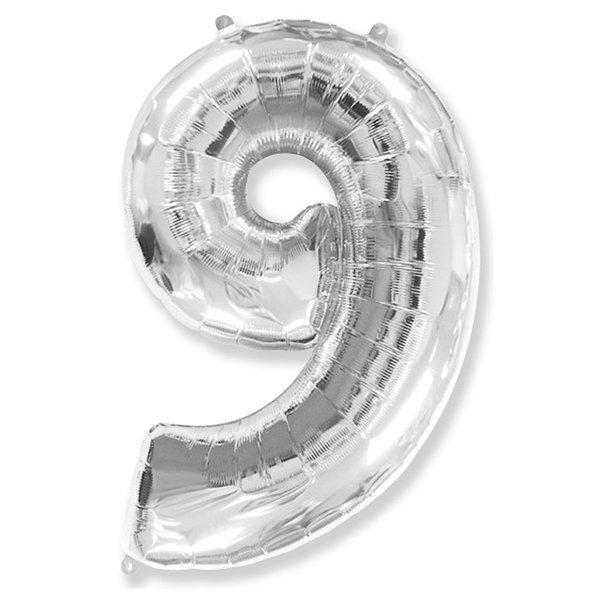 Фольгированная цифра 9, серебро