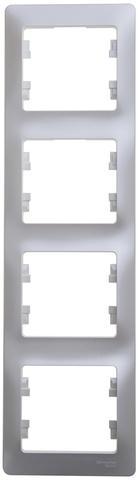 Рамка на 4 поста, вертикальная. Цвет Перламутр. Schneider Electric Glossa. GSL000608