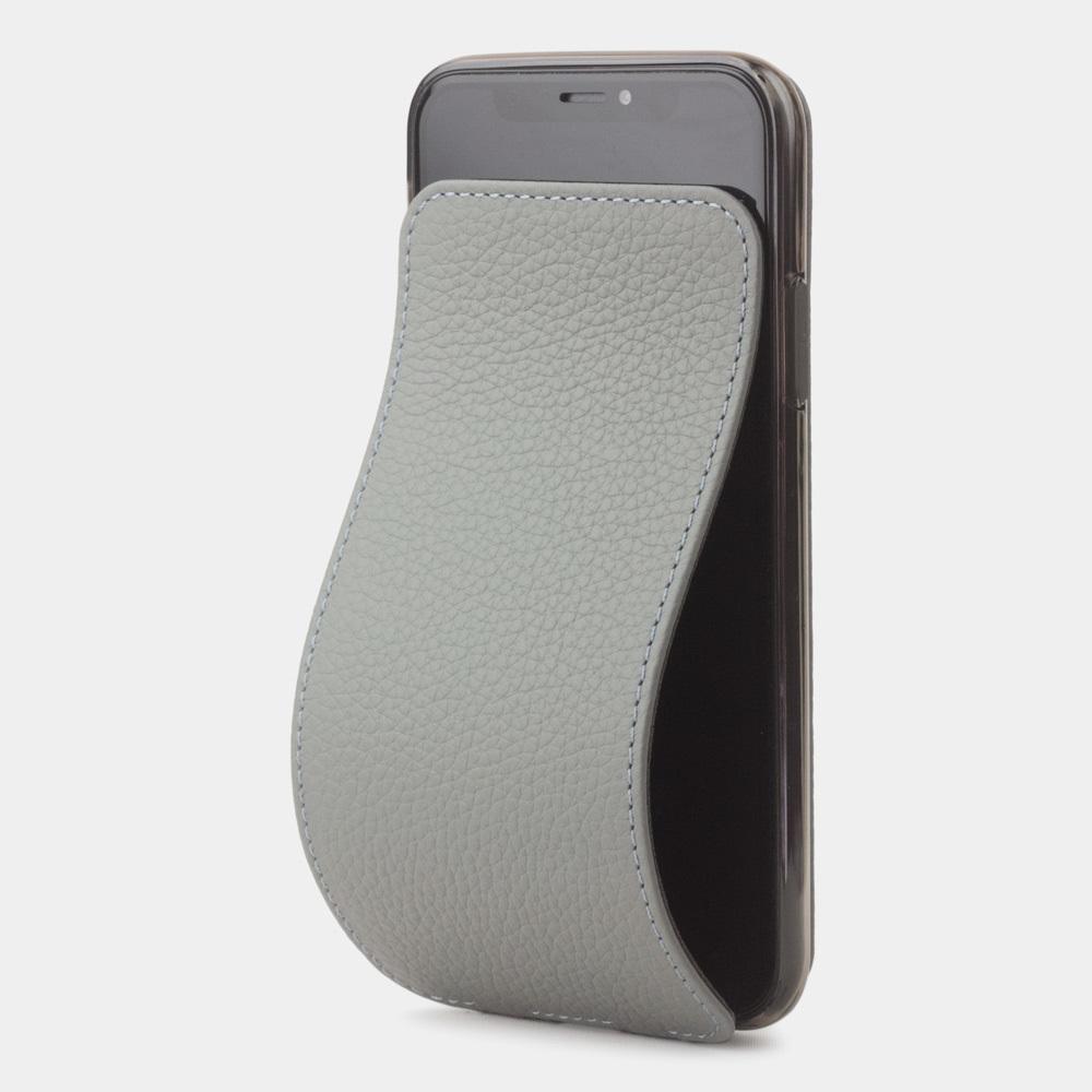 Чехол для iPhone X/XS из натуральной кожи теленка, cтального цвета