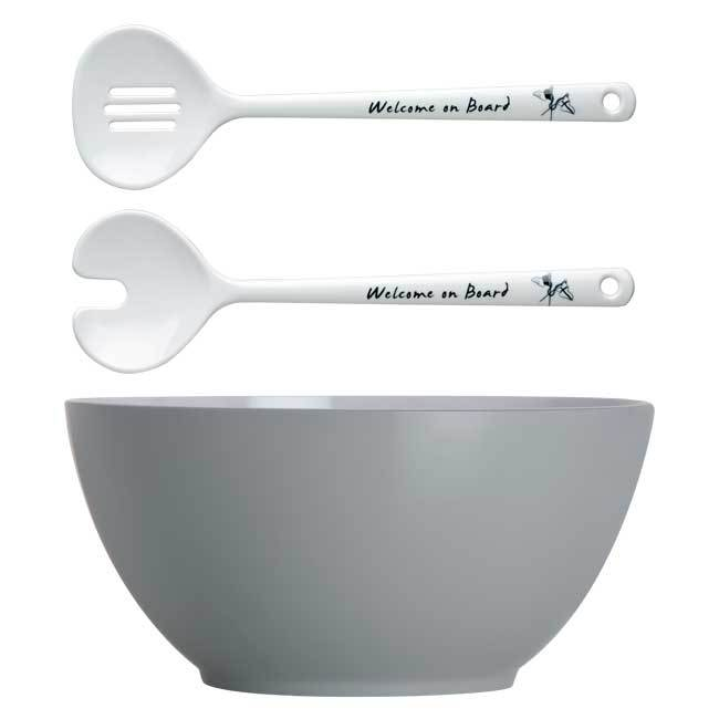 MELAMINE SALAD BOWL AND SERVERS, WELCOME ON BOARD