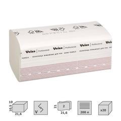 Полотенца бумажные листовые Veiro Professional F1 Premium V-сложения 2-слойные 20 пачек по 200 листов (артикул производителя KV306)