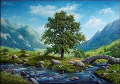 Алмазная Мозаика 40x50 Горный пейзаж (арт. HWA3330 )