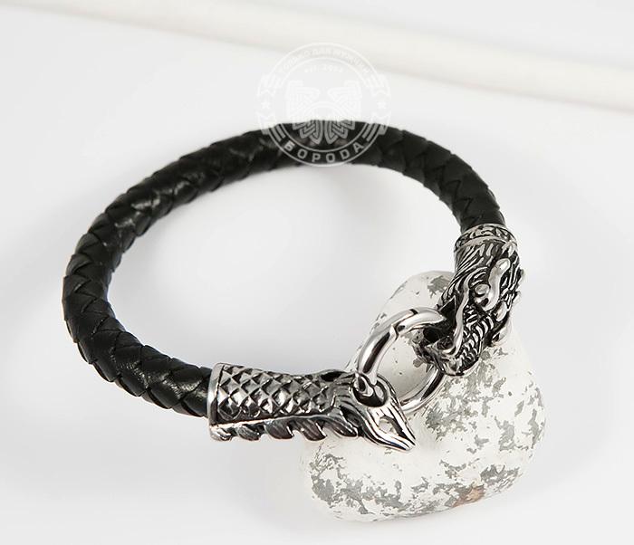 BM414 Оригинальный браслет из кожи со стальным драконом (19 см) фото 05