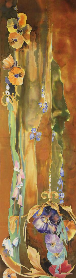 Шелковый шарф батик Цветочная мелодия С-57