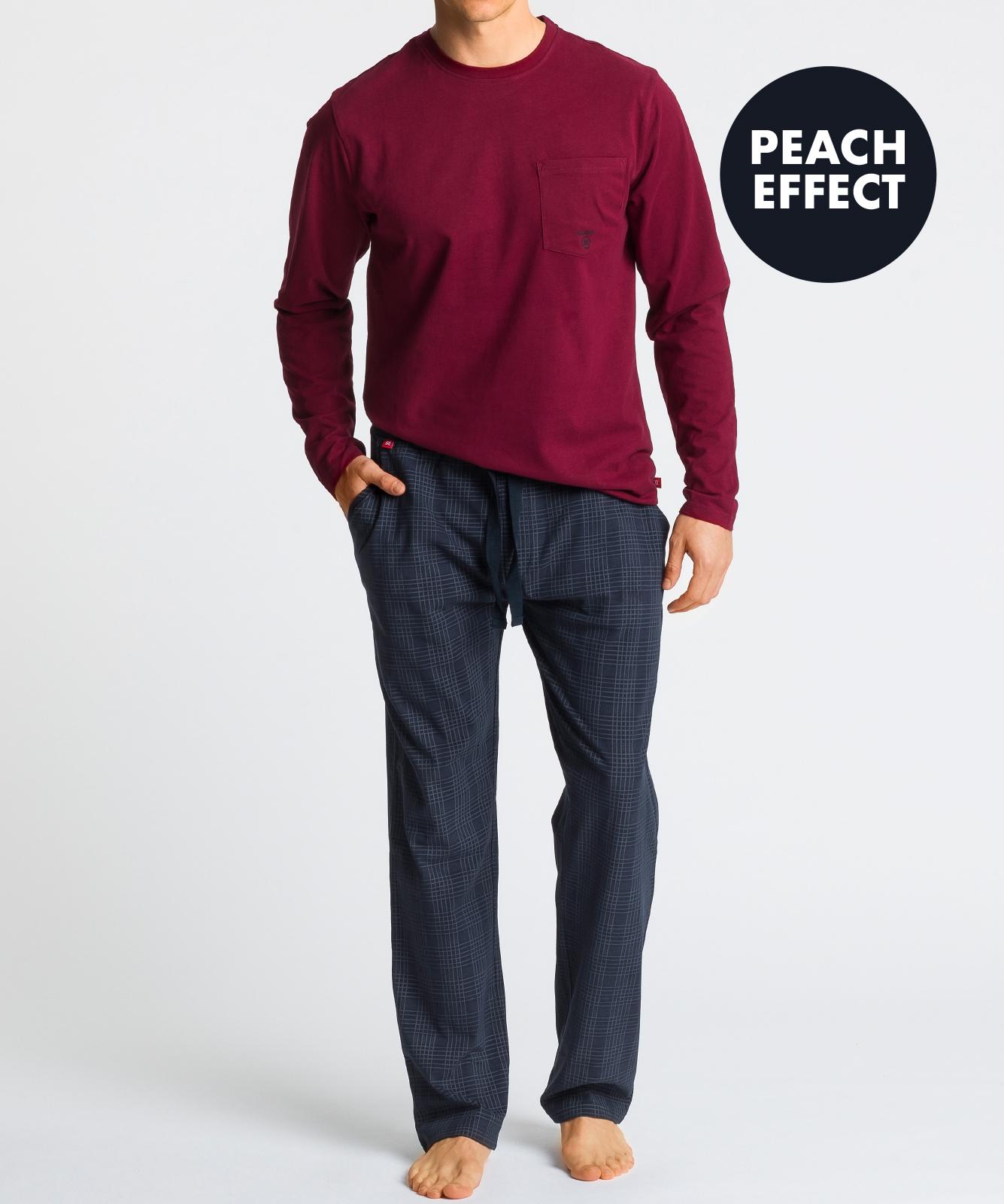 Мужская пижама Atlantic, 1 шт. в уп., хлопок, темно-красная, NMP-349