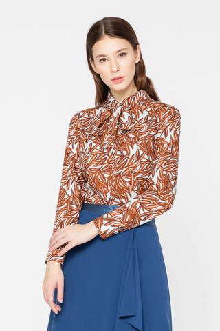 Фото блузка с оранжевым растительным принтом и бантом - Блуза Г689в-783 (1)
