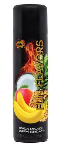 Разогревающий лубрикант Fun Flavors 4-in-1 Tropical Explosion с ароматом тропических фруктов - 89 мл.