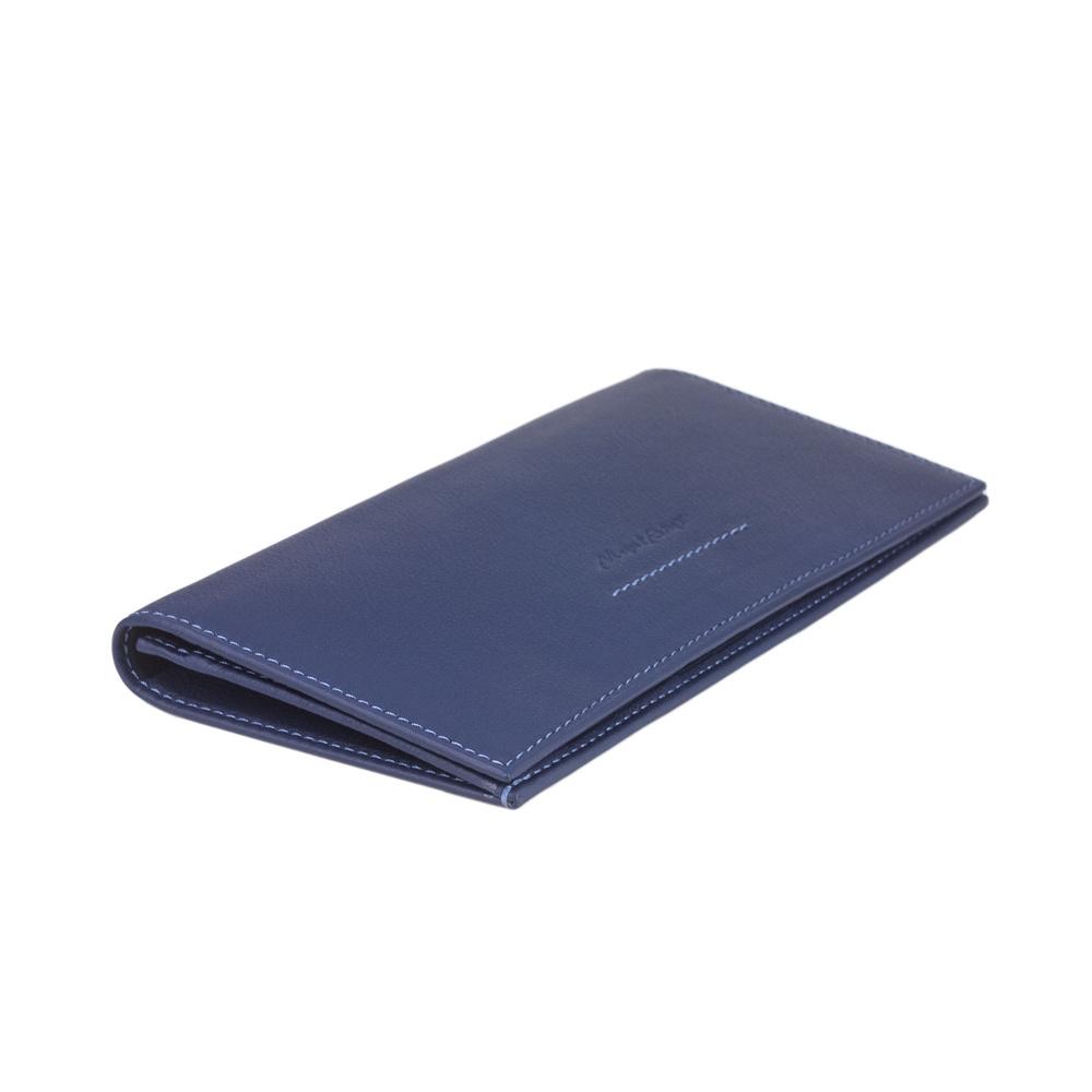 Длинный кошелек Lingot Easy из натуральной кожи теленка, цвета индиго