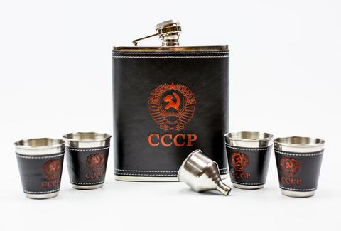 Подарочный набор СССР из фляги 540 мл, 4-х стопок и воронки