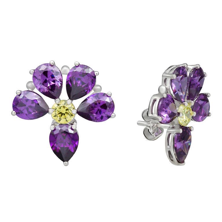 Amethyst flower earrings in silver