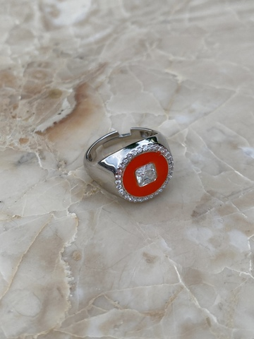 Кольцо Сайн красное, серебро