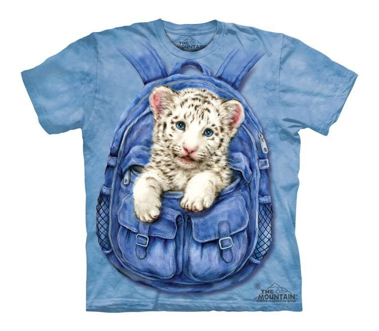 Футболка детская Mountain с изображением тигренка в рюкзаке - Backpack White Tiger