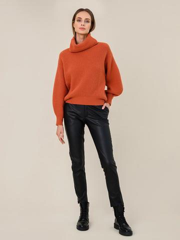 Женский свитер терракотового цвета из шерсти и кашемира - фото 5