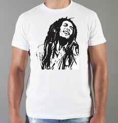 Футболка с принтом Боб Марли (Bob Marley) белая 001