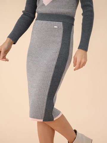Женская юбка темно-серого цвета из 100% шерсти - фото 3
