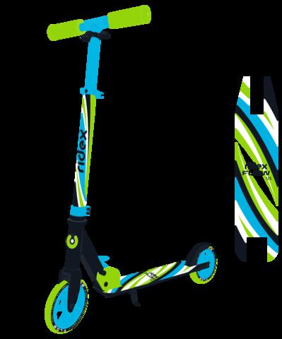 Самокат 2-колесный Flow 125 мм, голубой/зеленый