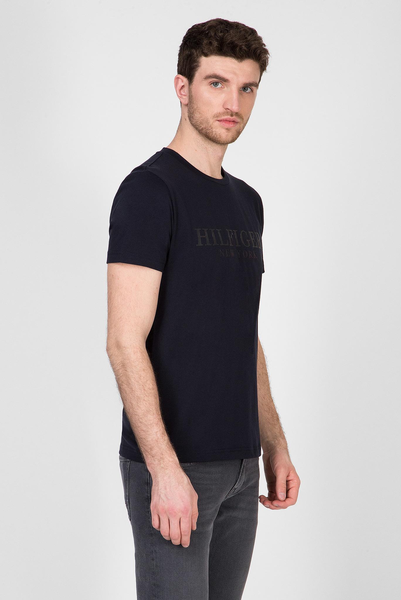 Мужская темно-синяя футболка HILFIGER DOUBLE LAYER Tommy Hilfiger