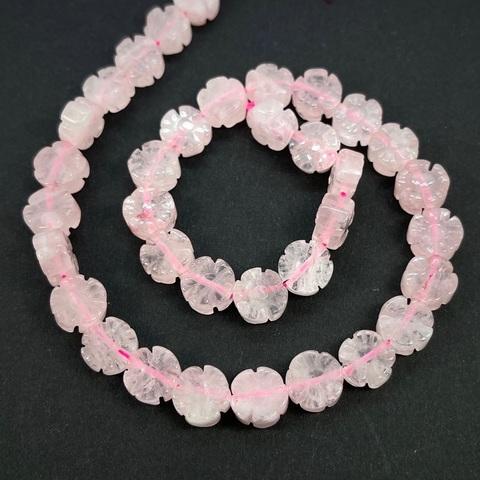 Бусина розовый кварц цветочек 10 мм 1 бусина
