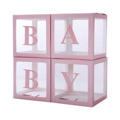 Набор коробок для воздушных шаров Baby, Розовые грани, Прозрачный, 30*30*30 см, в упаковке 4 шт.