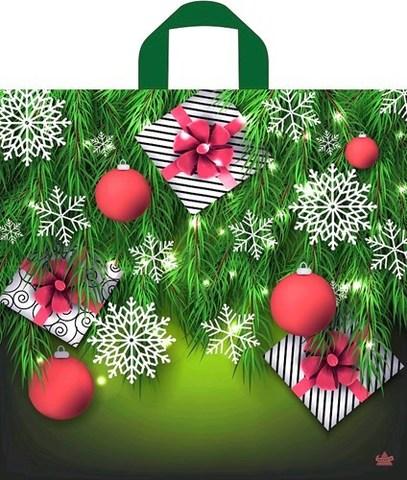 Новогодний пакет с петлевой ручкой 44х42+6 (70) Т НГ (Подарки в елках) 50 шт