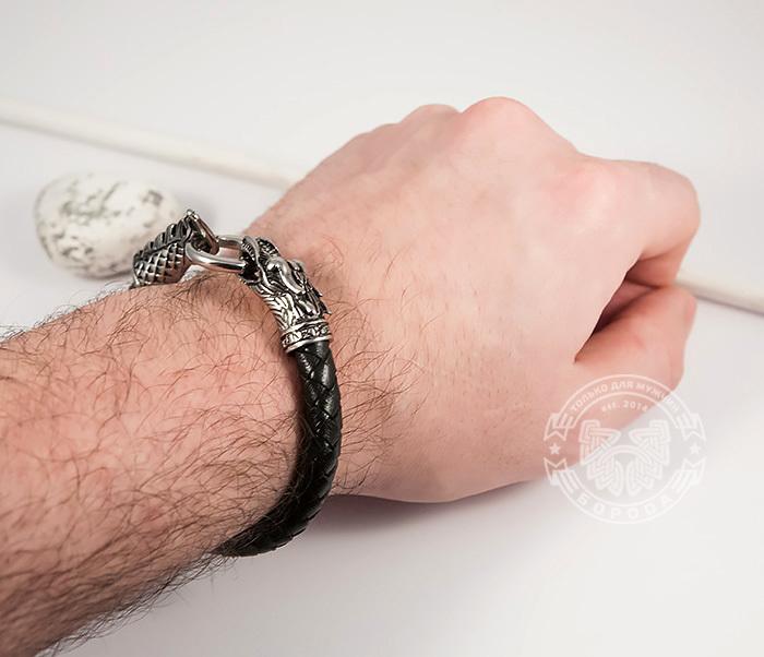 BM414 Оригинальный браслет из кожи со стальным драконом (19 см) фото 08