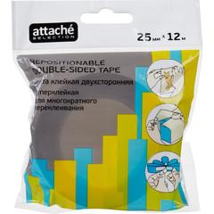 Скотч клейкая лента канцелярская Attache Selection пластиковая двусторонняя переклеиваемая прозрачная 25 мм x 12 м