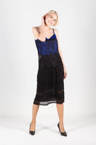 Фото юбка миди с эффектом многоярусности из черного кружевного полотна - Юбка Б113-699 (1)