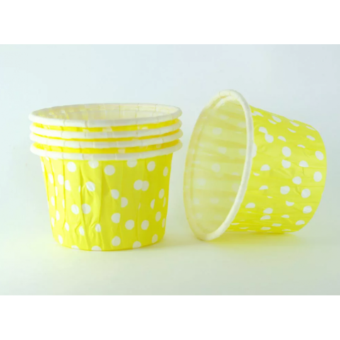 Капсулы для капкейков усиленные,желтые в горох,20шт,50*30мм