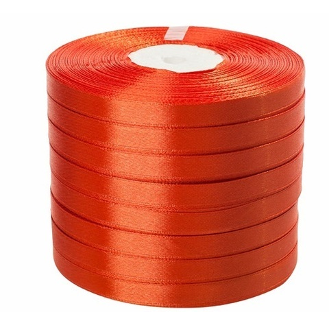 Лента атласная в уп. 8 шт. (размер: 10 мм х 50 ярд) Цвет: оранжевая