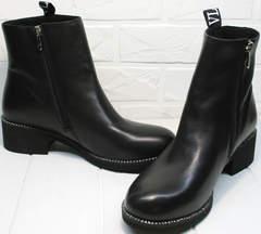 Купить осенние полусапожки женские Jina 6845 Leather Black.