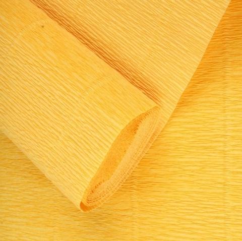 Бумага гофрированная, цвет 17Е/5 желтый солнечный, 180г, 50х250 см, Cartotecnica Rossi (Италия)